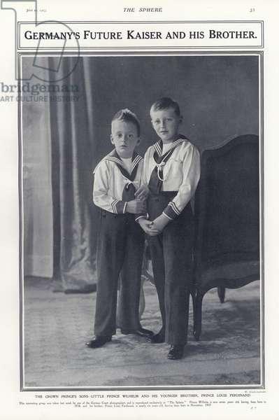 Crown Prince Wilhelm and Prince Louis Ferdinand, sons of Kaiser Wilhelm II of Germany, 1913 (b/w photo)