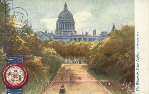 The Wisconsin State Capitol, Madison, Wisconsin (colour litho)