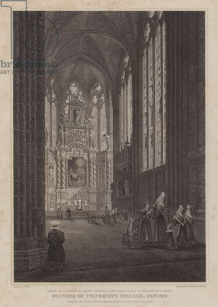 Chapel of the Virgin in Rouen Cathedral, burial place of William of Durham, founder of University College, Oxford (engraving)