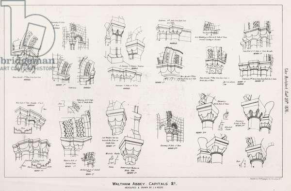 Waltham Abbey, Capitals etc (engraving)