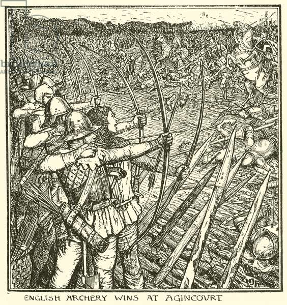 English Archery Wins at Agincourt (engraving)