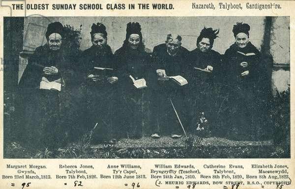 Elderly former members of a sunday school class, Nazareth, Talybont, Cardiganshire, Wales, 1908 (b/w photo)