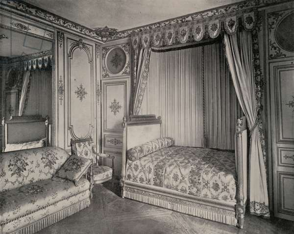 Bed-Room of Madame de Maintenon, Fontainebleau Palace (b/w photo)