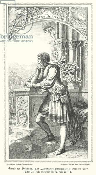 Oswald von Wolkenstein, German poet, composer and diplomat (engraving)