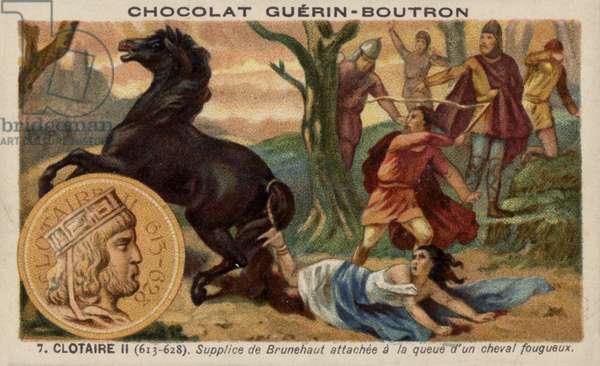 Chlothar II and the execution of Brunhilda of Austrasia, 613 (chromolitho)