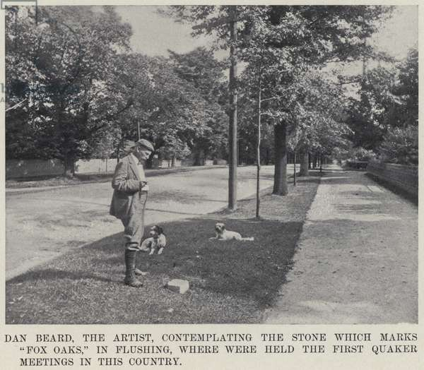 """Dan Beard, the Artist, contemplating the Stone which marks """"Fox Oaks,"""" in Flushing, where were held the First Quaker Meetings in this Country (b/w photo)"""