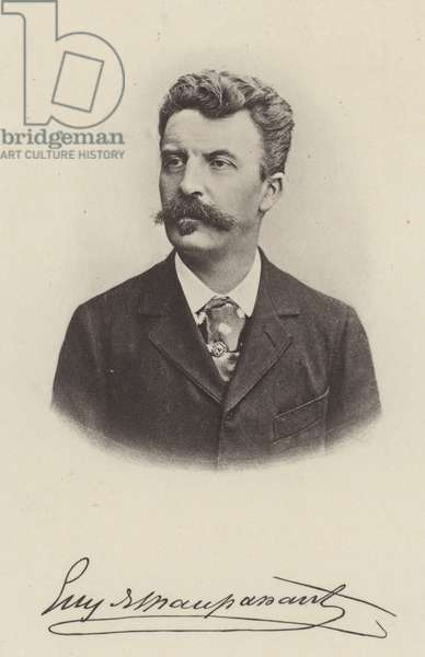 Guy de Maupassant, French short story writer and novelist (b/w photo)