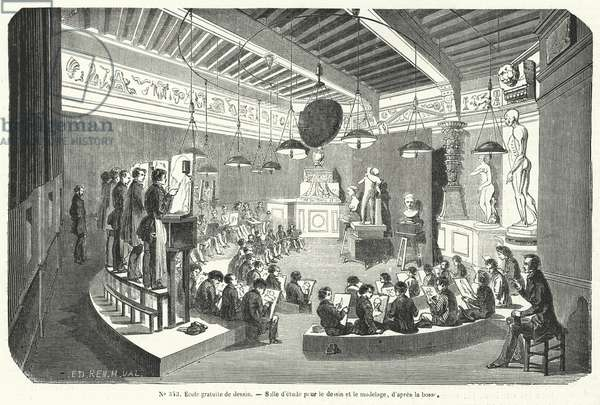 Students in a class in a free school of drawing, France (engraving)