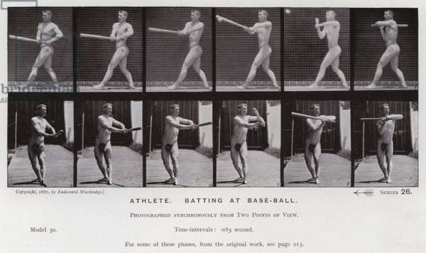 The Human Figure in Motion: Athlete, batting at base-ball (b/w photo)