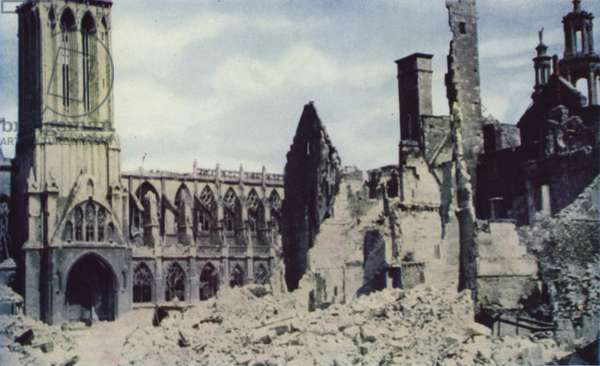 Ruins of Caen, Normandy, after Allied artillery and air bombardment before the city was captured from the Germans, World War II, July 1944 (photo)