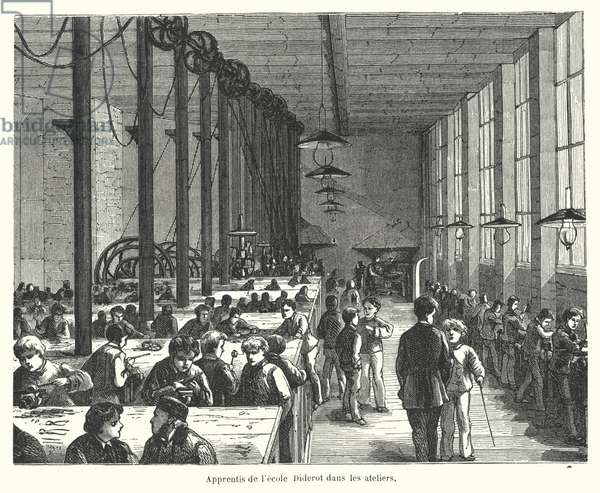 Apprentices in the workshops of the Ecole Diderot in Paris, France (engraving)
