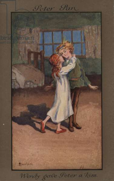 Wendy giving Peter Pan a kiss (colour litho)