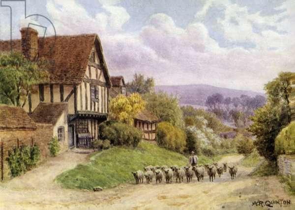 Cropthorne, near Evesham, Worcester (colour litho)