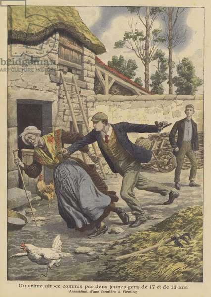 Murder of a farmer by two youths aged 17 and 13 at Firminy, France (colour litho)