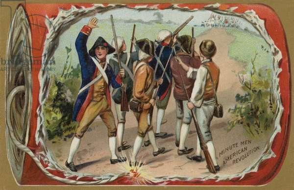 Minute Men, American Revolution (colour litho)