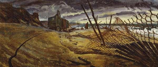 WW2 scenes: Radar on the English Channel (colour litho)