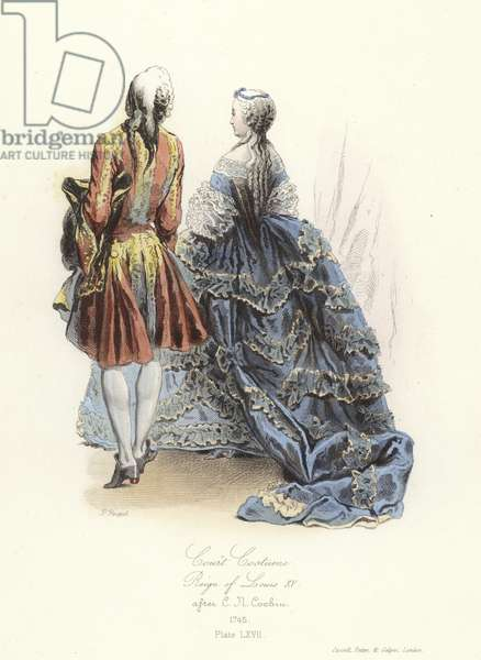 Court costume, reign of Louis XV of France (coloured engraving)