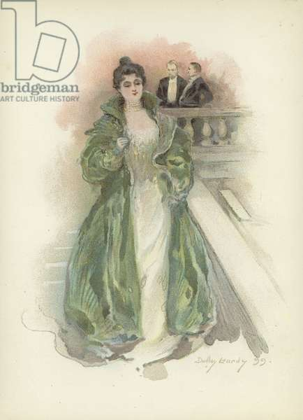 Society lady at the Savoy Hotel, London (colour litho)