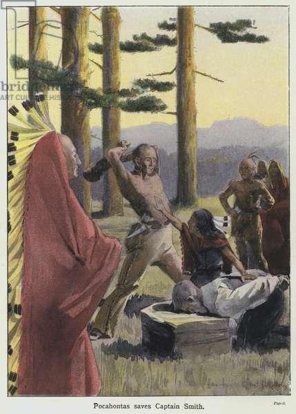 Pocahontas saves Captain Smith (colour litho)