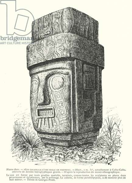 Colossal carved porphyry Inca idol (engraving)