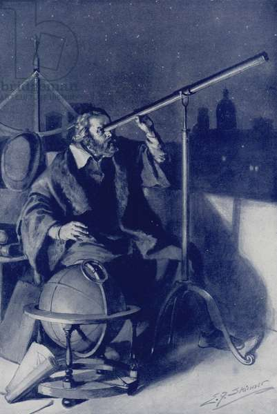 Galileo discovering new worlds (colour litho)
