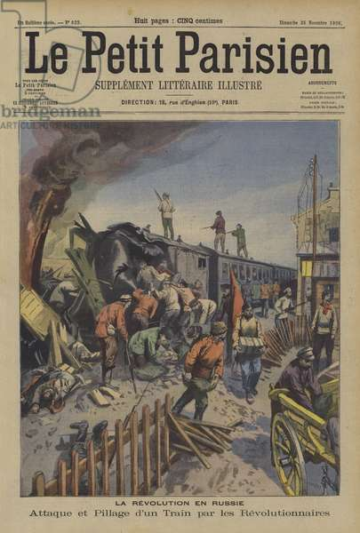 Revolutionaries attacking and robbing a train in Russia (colour litho)
