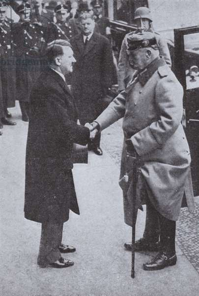 Adolf Hitler and Paul von Hindenburg, Chancellor and President of Germany, 1933 (b/w photo)