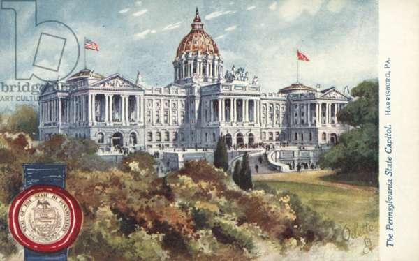 The Pennsylvania State Capitol, Harrisburg, Pennsylvania (colour litho)