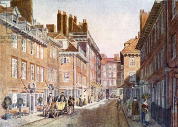 Beaufort Buildings in 1704, subsequently pulled down when the Savoy Hotel and Savoy Theatre were erected (colour litho)