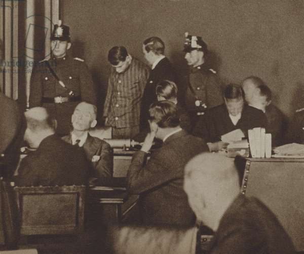 Marinus van der Lubbe, a Dutch Communist, in court accused of setting the Reichstag Fire in Berlin, 1933 (b/w photo)