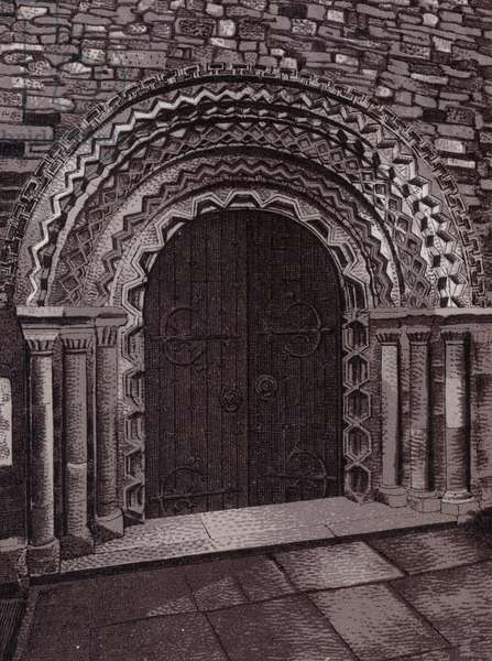 Norman Porch, Llandaff Cathedral (litho)