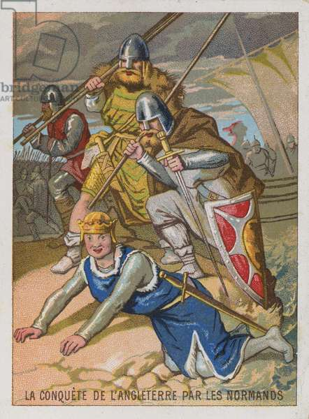 Trade card with an image of the conquest of England by the Normans (chromolitho)
