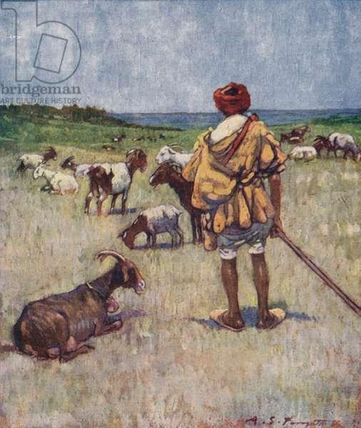 A shepherd of Morocco (colour litho)