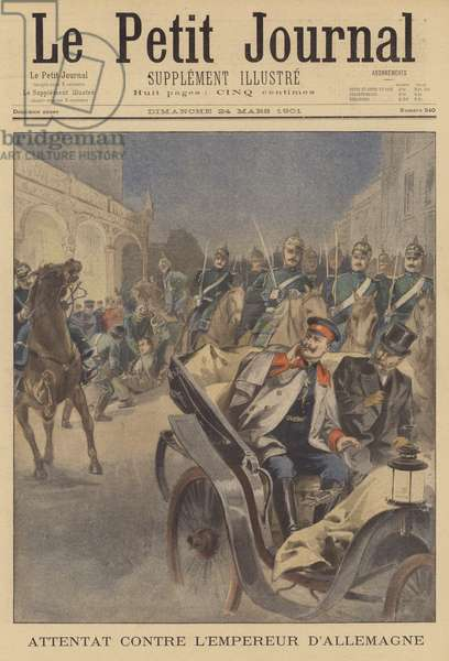 Assassination attempt on Kaiser Wilhelm II of Germany (colour litho)
