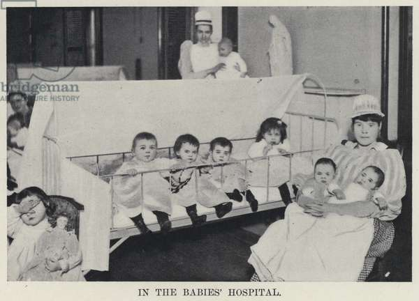 In the Babies' Hospital (b/w photo)