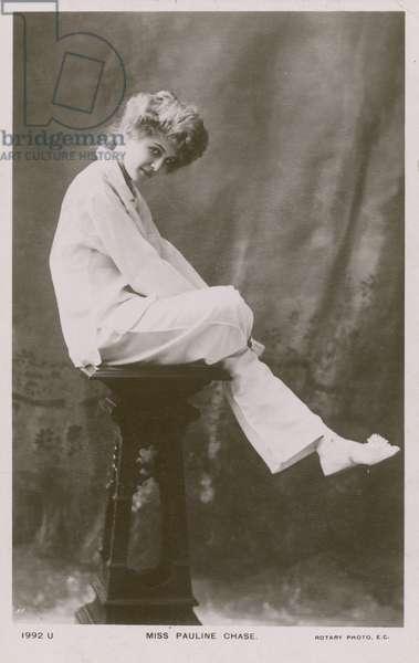 Miss Pauline Chase, in pyjama suit (b/w photo)
