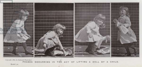 The Human Figure in Motion: Phases occurring in the act of lifting a doll by a child (b/w photo)