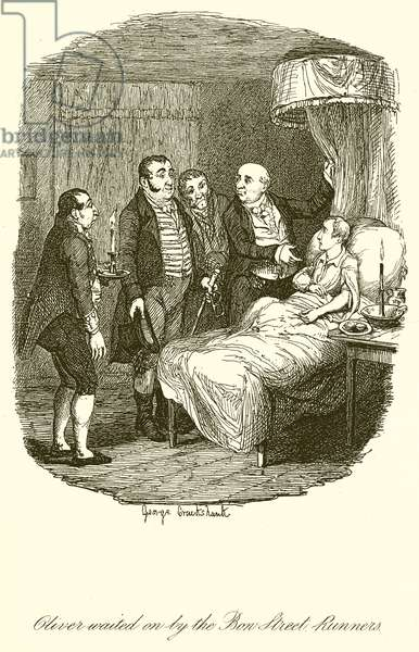 Oliver waited on by the Bow Street Runners (engraving)