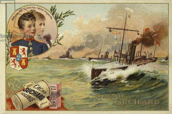 Alfonso XIII of Spain and his mother, Maria Christina of Austria, Spanish-American War, 1898 (chromolitho)