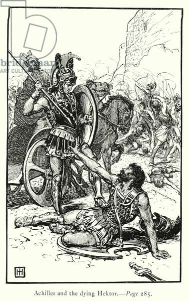 The Iliad: Achilles and the dying Hektor (engraving)