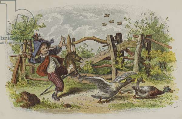 Young boy playing on his hobby horse and scaring a group of geese (colour litho)