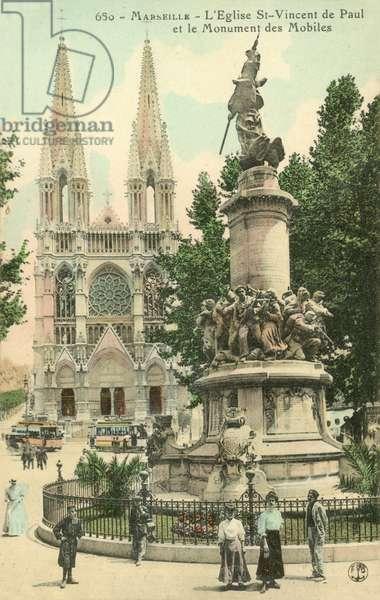 Marseille, L'Eglist St-Vincent De Paul, Le Monument Des Mobiles (colour photo)