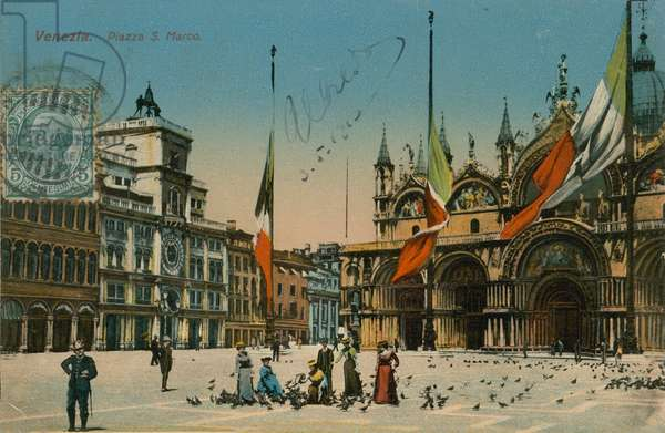 St Mark's Square, Venice. Postcard sent in 1913.