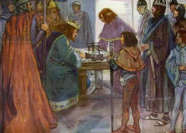 King John affixing his seal to Magna Carta (colour litho)