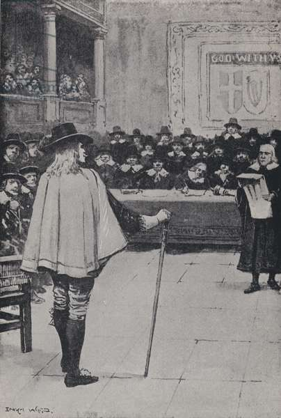 Trial of King Charles I, Westminster Hall, London, 1649 (litho)