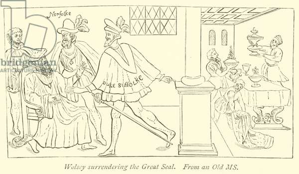 Wolsey surrendering the Great Seal (engraving)