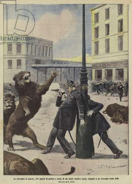 The 'Battle of Leipzig' (colour litho)