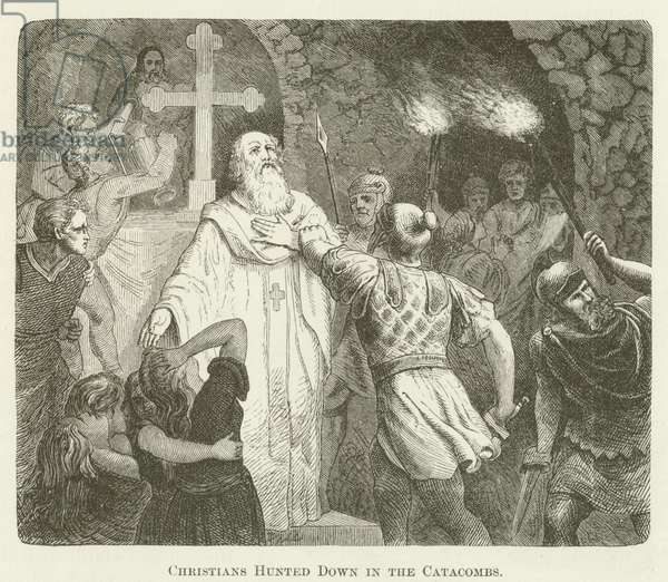 Christians Hunted Down in the Catacombs (engraving)