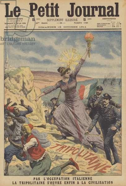 The Italian occupation of Tripolitania (colour litho)
