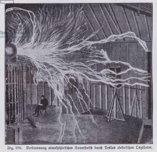 Combustion of atmospheric oxygen by Nikola Tesla's electric oscillator (litho)